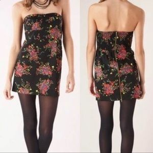 Free People Floral Strapless Mini Dress Size 6